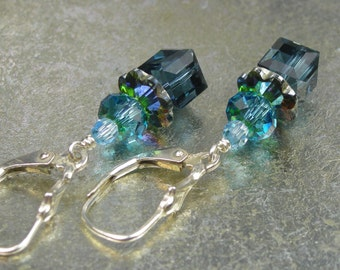 Blue Turquoise Cube Crystal Earrings