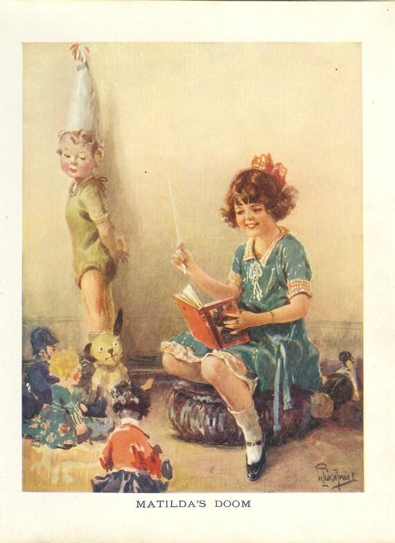 Items Similar To Vintage 1924 Childrens Print Girl Sitting