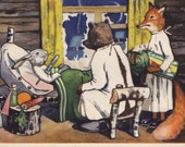 "Postcard Illustration by A. Belov ""Bunny patient"" - 1956, Izogiz"