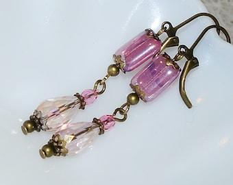 Crystal Earring - Aurora Borealis Rose Crystal- Crystal Dangle Earring