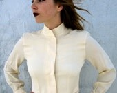 1990s Avant Garde Cream Silk Blouse- Nineties Severe High Collar White Blouse