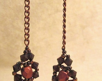 Dark Brown & Copper Handwoven Earrings With Copper Chain