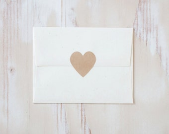 Brown Kraft Large Heart Stickers - 24 pc - 1.5""