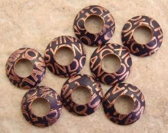 Etched Copper Bead Caps, Deep Grape City Names, 1 pair (2 caps), 13mm