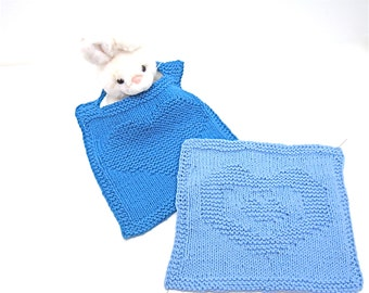 Blue baby bib knit & washcloth set royal blue Delft blue 'Your Heart in Mine' organic cotton hand knit gift