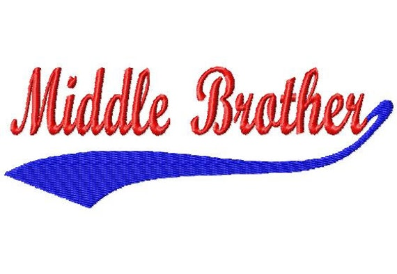 Baseball Swoosh Middle Brother Machine Embroidery Design