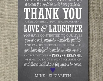 Chalkboard Wedding Thank You Board - Printable File