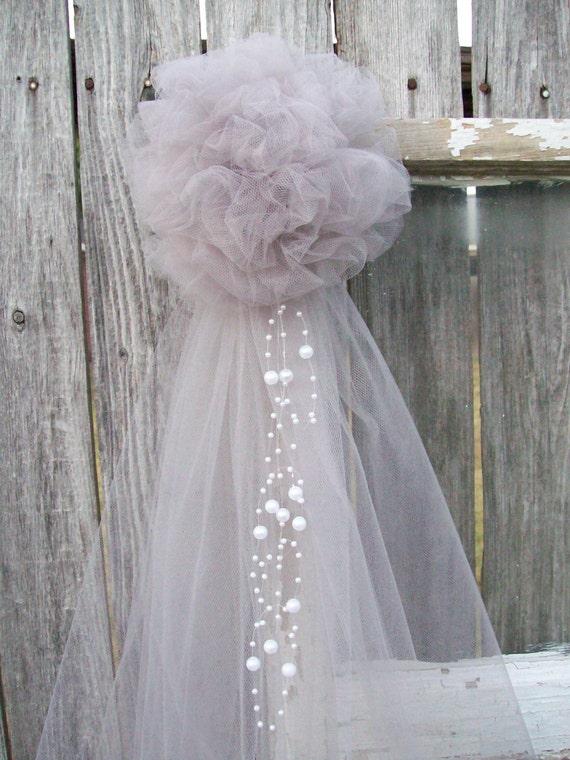 Silver pew bow grey wedding decor silver tulle church aisle - Bow decorations for weddings ...