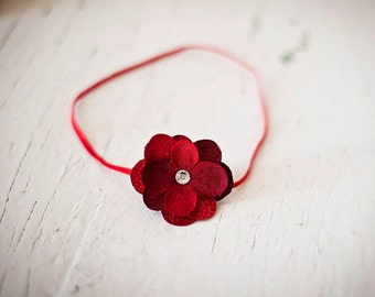 Red hydrangea flower headband Newborn Headband..Baby Headband...Infant Headband, Flower Headband