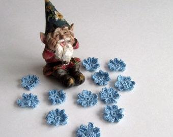 12 Crochet Flowers Mini Appliques - Baby Blue Pedal Flowers - Set of 12