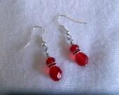 Red Earrings - Crystal Earrings - Dangle Earrings