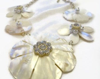 Mother of Pearl Flower Necklace Wedding Jewelry Pearl Necklace Bib Necklace