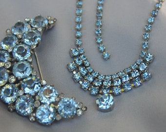 SALE - Vintage 1950 Bridal Ice Blue Rhinestone Necklace & Brooch/Haircomb Set