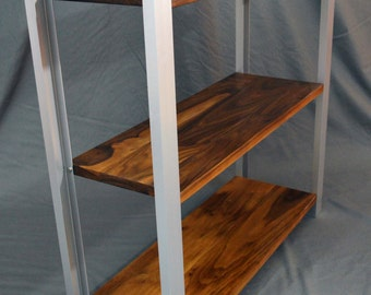 Walnut and steel bookcase