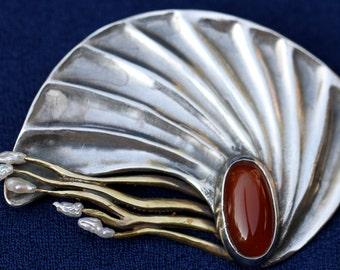 Vintage Studio Art Nautilus Sea Ocean Shell Carnelian And Pearl Sterling Brooch