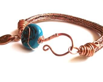 Artisan Wire-Woven Bracelet - Rustic Orange Copper Viking Knit Bangle & Blue Bead Accent
