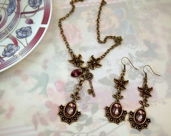 Balloon Girl Steampunk gothic dolly kei Mori girl fairytale Antique brass necklace and earrings set