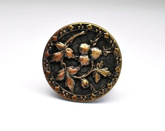 Antique T W & W, H M PARIS Floral Button