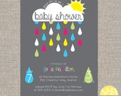 Baby Shower Rain Cloud Invitation - diy printable file by YellowBrickStudio
