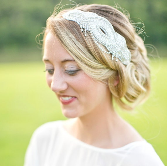 Silver Art Deco Crystal Headpiece, Gatsby Silver Fascinator, Bridal Hair Comb, Bridal Hair Accessories, Wedding Hair Piece - VERA design
