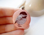 Little Coral Bird Locket Necklace, Vintage Illustration, Unique, Antique Chain,  Whimsical Jewellery