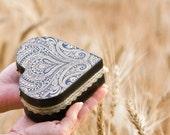 Wedding Box, Silk Road, Hearth Black lace Arabesque Box, Victorian Paisley wooden box, Bridesmaid gift idea, Wedding pillow box