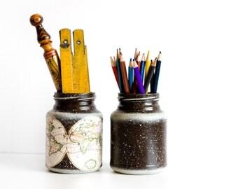 Dorm and Office Decor, Pencil Holder or Vase, Painted Jars, Vintage World Map Desk Accessory