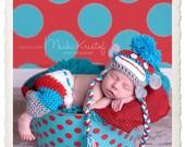Halloween Costume Baby Crochet Multi Color Sock Monkey Hat & Pants Set - Treasured Little Creations
