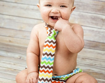 Diaper Cover and Tie Set Birthday Cake Smash Newborn Photo Prop Baby Boy Little Man Chevron Brown Yellow Orange Lime Green Turquoise White