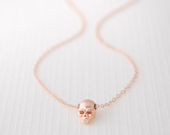 Skull necklace - Tiny Skull Necklace in Rose Gold, Gold, & Silver - Edgy charm - 1141