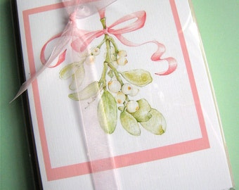 Mistletoe Christmas Cards. Botanical Art Cards. Box of 10 Cards