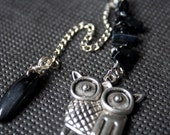 Owl Charm, Black Gemstone, Bird and Chain Charm, Tibetan silver, Purse Charm, Zip Pull, Belt Charm, Semi Precious Wire Wrapped Charm