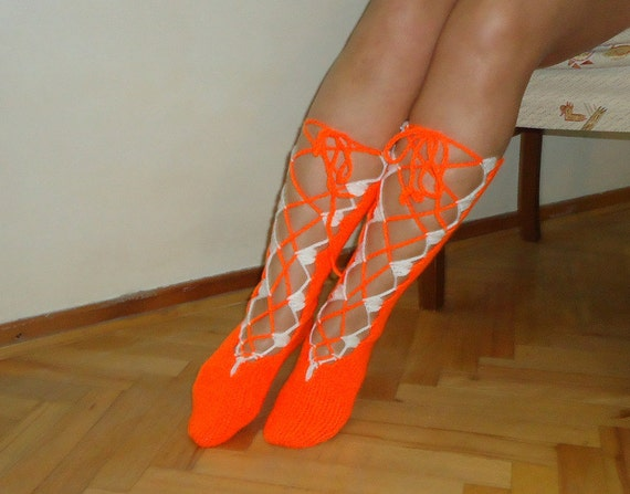 Leg Warmers  Handmade Acrilic teal orange white lace socks long orange rope gladiator boots. To 22 cm.