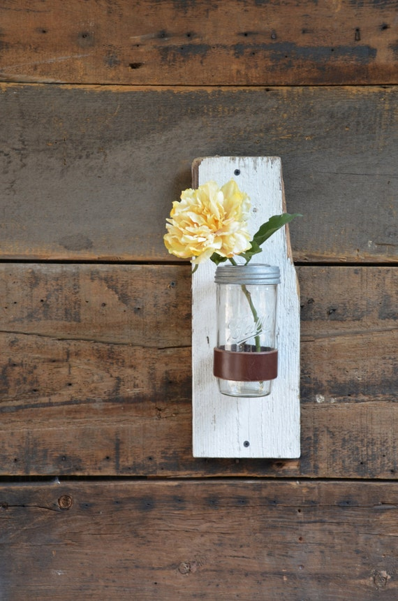 Wall Mount Leather Strap Vase, Pencil Catcher, Paint Brush Holder