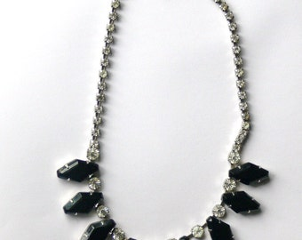 Black glass and clear rhinestone necklace
