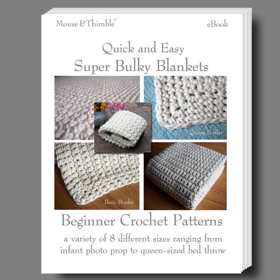 Crochet Stitches For Super Bulky Yarn : Beginner Crochet PATTERNS Super Bulky Blanket - eBOOK 8 - Printable ...
