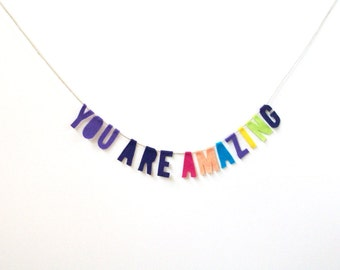 You Are Amazing felt banner, inspirational banner in purple, eggplant, and bright rainbow