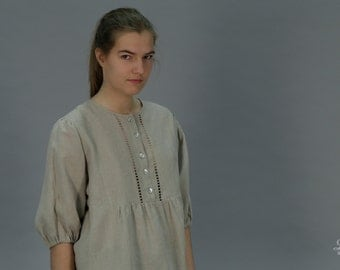 Pure Linen Blouse For Women With Drawnwork on Front