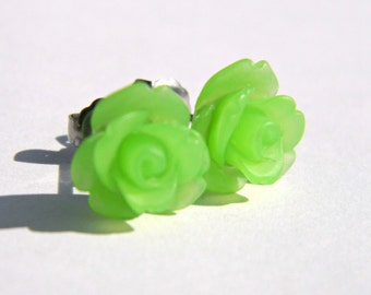 Lime Green Titanium Earrings  10mm Matte Translucent Frosted Rose Cabochon Titanium Stud Earring Pair  Hypoallergenic Minimalist Jewelry