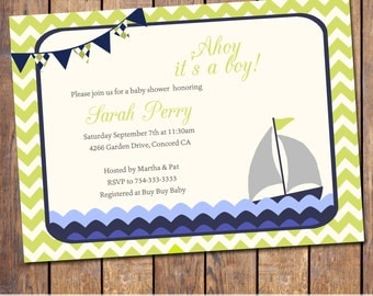 Boys baby shower invitation with nautical theme, modern, lime and navy, ahoy its a boy, sail boat ,digital file, printable file (item56d)