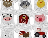 Farm Bundle Pack - Iron on Farm Shirt Digital / Pig Shirt / Barnyard Animals / Barn Printable / Farm Birthday Party / Kids Boys Clothing -D