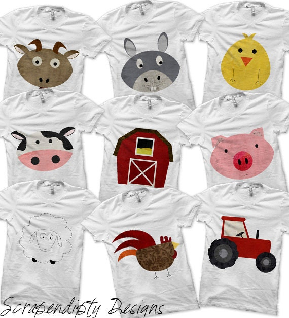 Farm bundle pack iron on farm shirt digital pig shirt barnyard