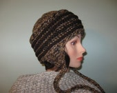 Mens Chunky Ear Flap Hat Brown Hand Knitted Men Women