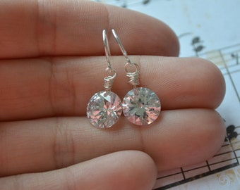 Tiny Drop Sparkle Earrings | Cubic Zirconia CZ Earrings | Sterling Silver | Bridal Jewelry | Wedding Earrings | Bridesmaids Gifts