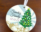 Presents under the Family Christmas Tree - Personalized Porcelain Ceramic Holiday Ornament - orn27 - Peachwik - Custom Family Name