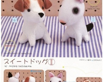 Adorable Puppy Bull Terrier and Jack Russel Plush Sewing Pattern PDF English templates names, Translated materials list included