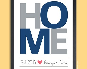 Housewarming Gift Personalized, HOME Wall Print , navy and gray, gift for couples, wedding gift, 8x10, 11x14, 16x20