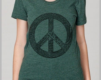 American Apparel Women's T Shirt Peace Symbol tee shirt S, M, L, XL 8 COLORS