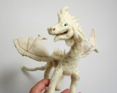 Dragon sculpture, needle felted fantasy creature, white dragon, posable soft sculpture MADE TO ORDER