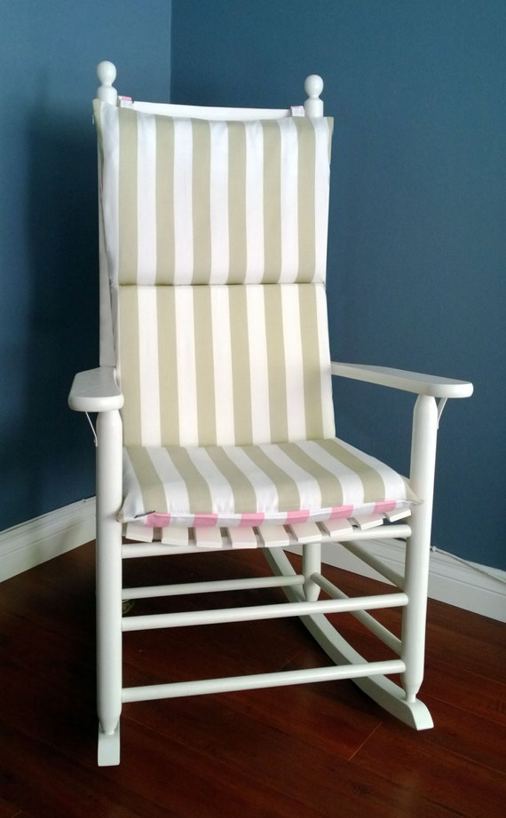 ON SALE Rocking Chair Cushion Cover TAUPE Stripe Pink